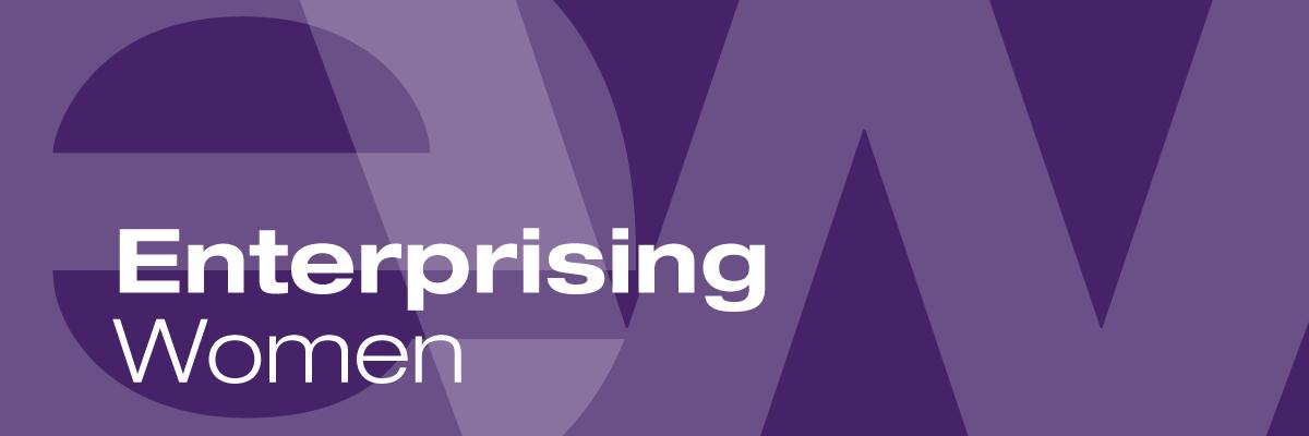 Enterprising Women logo - purple graphic